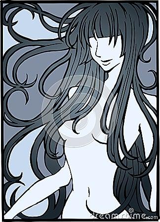 Ilustracja nagą dziewczynę