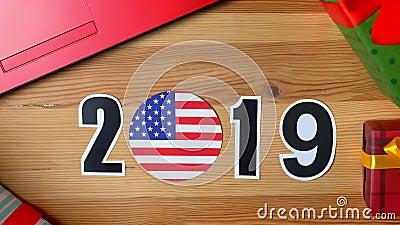 Ilustracja, nowy rok, męska ręka stawia dalej stół na flaga amerykańskiej, kraj piłka, 2019 zbiory wideo
