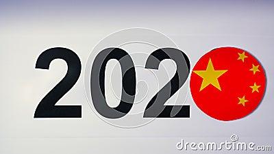 Ilustracja, nowy rok, męska ręka stawiająca dalej stół na chińczyk flaga, kraj piłka, 2020 zbiory wideo