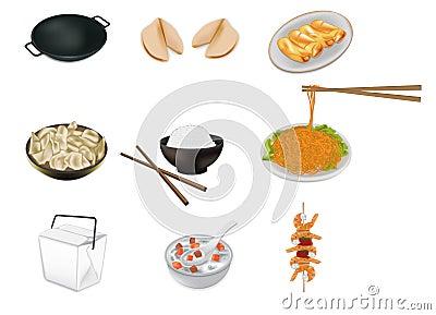 Ilustração chinesa do vetor do alimento