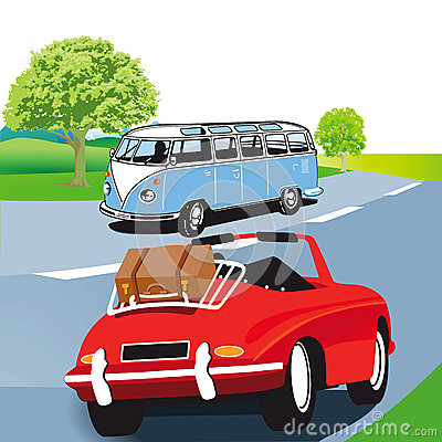 Caravana do motor e carro de esportes