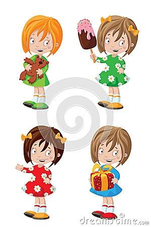 Grupo feliz da menina