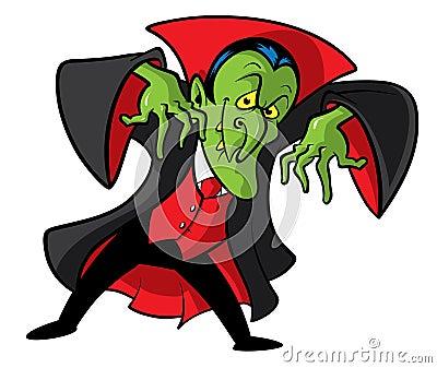 Ilustração dos desenhos animados do vampiro de Dracula