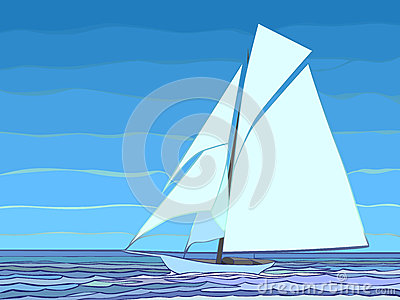 Ilustration of cartoon sailing yacht in blue tone.