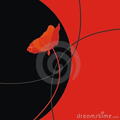 Ilustration a red flower on a black background