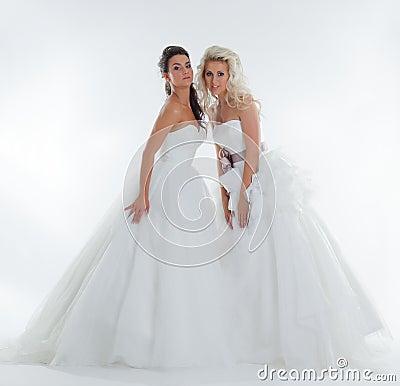 Image of alluring stylish brides posing in studio