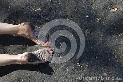 Image of a beach with woman feet