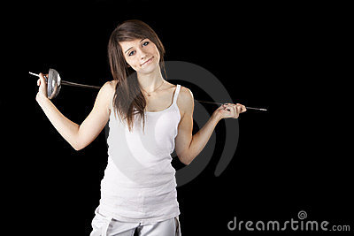 Image beautiful girl with a rapier