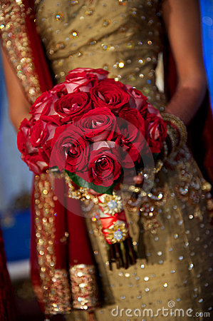 Image of a beautiful Indian bride s bouquet