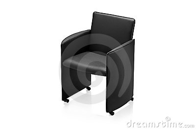 Image of a black leather armchair