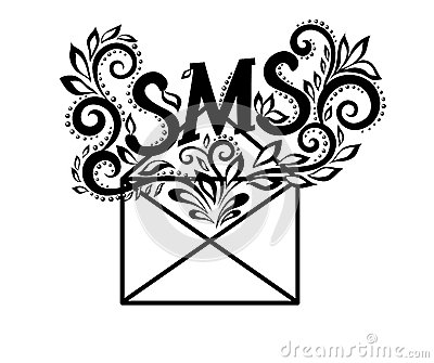 Image of black-and-white logo envelope sms in flor