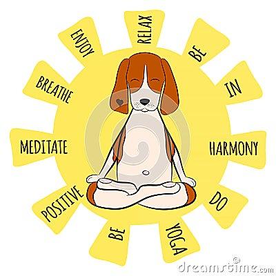 Image of a cartoon funny dog beagle sitting on lotus position of yoga Vector Illustration
