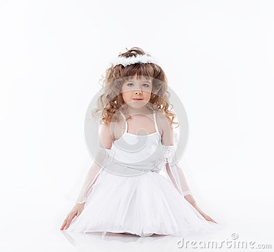 Image of cute little angel  on white