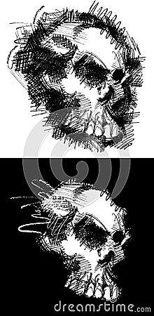 Image de dessin de crâne de vecteur