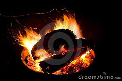 Image of a fire pit at night