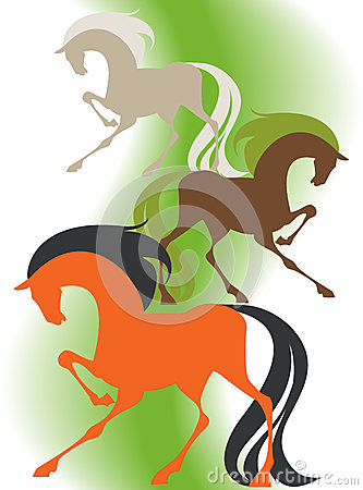 Image of four  silhouettes thoroughbred horses