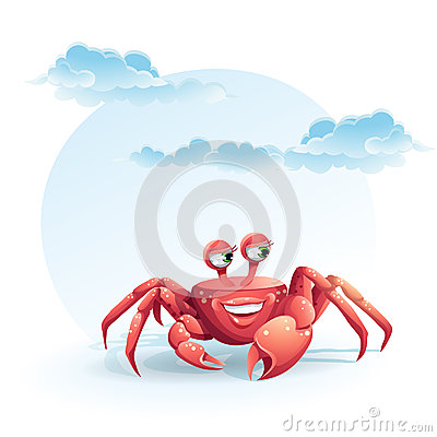 Image of funny merry crab-girl