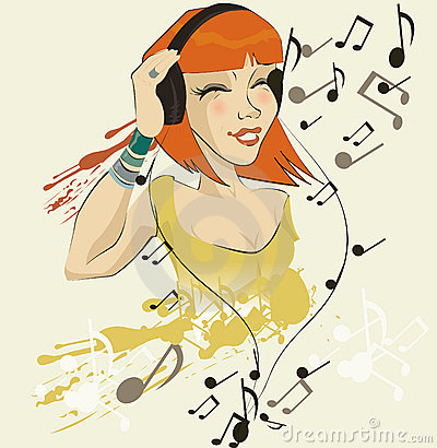 image of girl listening to music
