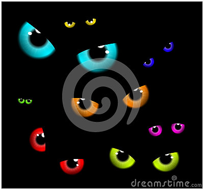 Image of Happy Halloween spooky background Flat design. Vector illustration of invitation card with scary eyes, eyeballs, iris. Vector Illustration