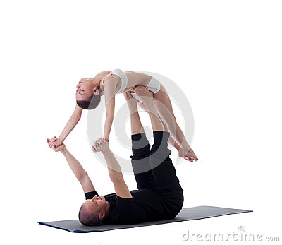 Image of healthy couple posing in yoga position