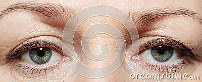 Eyes of the elderly white woman
