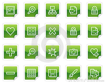 Image library web icons, green sticker series