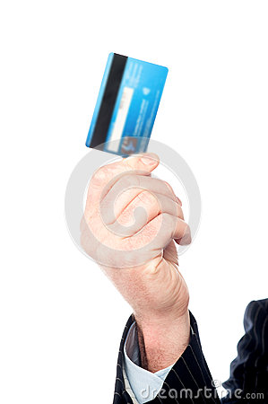 Image of man s hand holding cash card