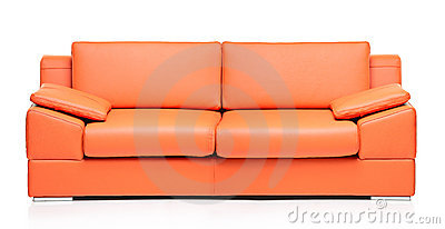 Image Of A Modern Orange Leather Sofa