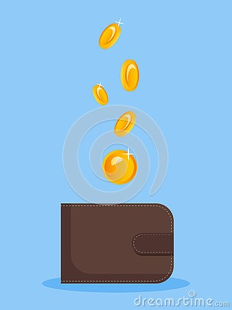 The image of money falling into a purse. Flat vector image on a blue background. Funding, monat, idea for advertising Stock Photo