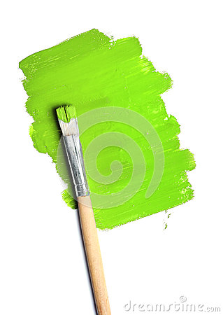 Free Image Of Paintbrush And Green Paint Spot Isolated Stock Photography - 28598342