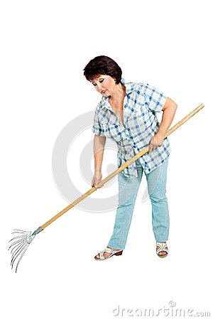 Free Image Of Woman Farmer With Rakes In Hands Royalty Free Stock Photos - 31700838