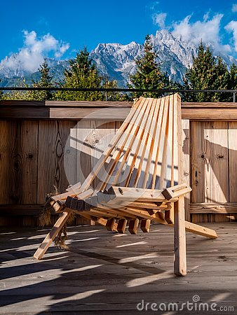 Free Image Of Wooden Chair On Balcony In Alpine Landscape Royalty Free Stock Photos - 129770098