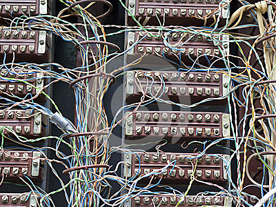 Image old telephone switchboard closeup