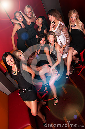 Image of pretty girls having fun in night club