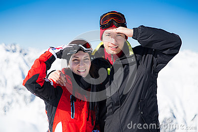Two skiers on a break