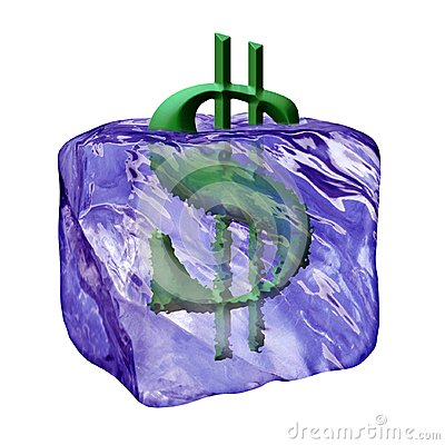 Image of the sign dollar in cube ice