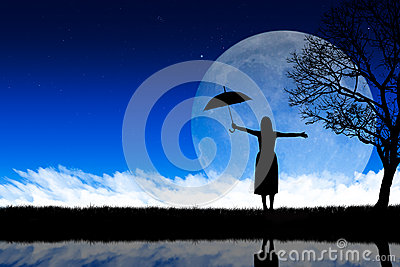 Silhouette woman nature background