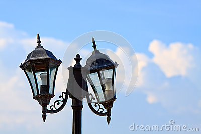 An image of street light on blue sky