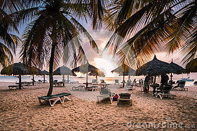Caribbean Sea at Dawn Editorial Stock Image