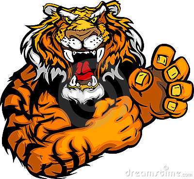 Image of a Tiger Mascot with Fighting Hands