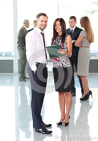 Two business partners planning work