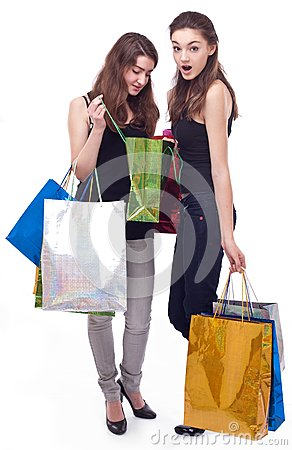 Image of two girls with their purchases.