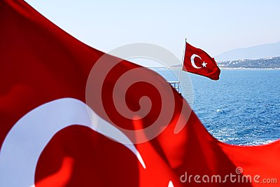 Image of two Turkish flags