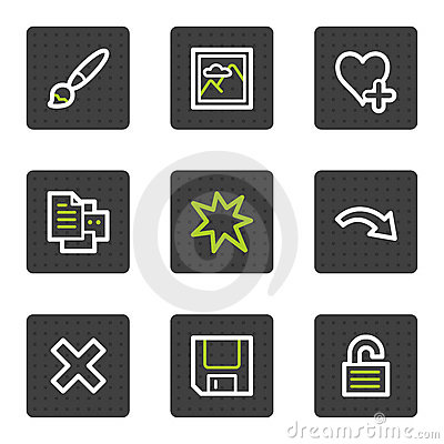 Image viewer web icons set 1, grey square buttons