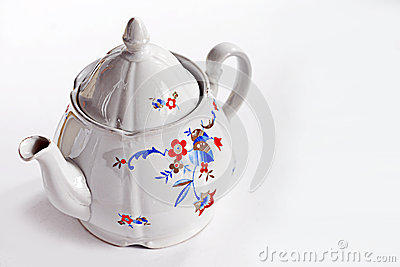 Vintage china teapot on white background