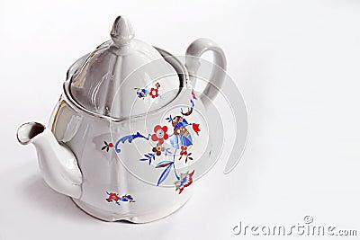 Vintage china teapot on white background