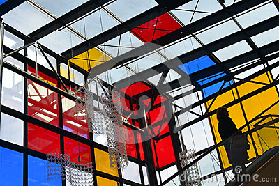 Wroclaw - Renoma store with red yellow blue glass walls Editorial Photo
