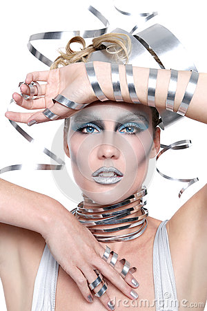 Image of a Woman Wearing Styled Metal Work