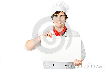 Cook holds a white blank