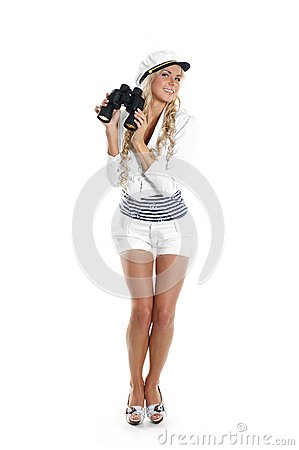 Image of a young sailor girl holding binoculars